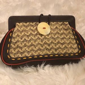 "Kate Landry Brown Leather Clutch w 2"" Shell Button"
